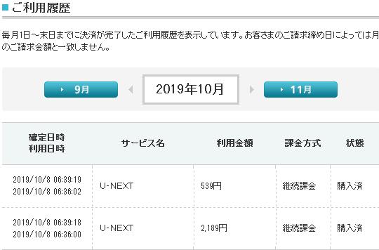U-NEXT 2019年10月