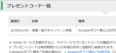 mineoからのAmazonギフト